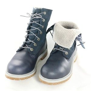TIMBERLAND Navy Blue Roll Down Boots